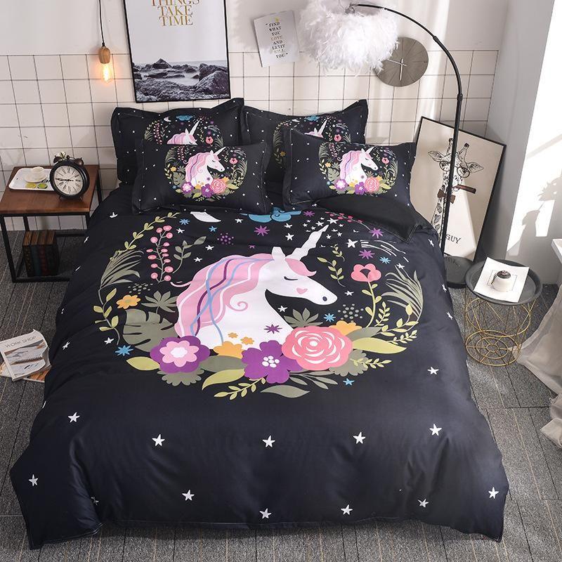 3D Cute Unicorn Bedding set Duvet cover and pillowcases EU / AU /US size for girls fdgdfg