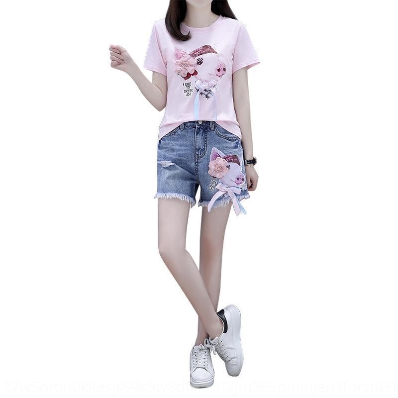AJ9x4 nuevo 2020 lentejuelas ingenioso verano de manga corta camiseta + denim rasgado de dos piezas de la camiseta y pantalones cortos shorts del conjunto 0MljE para las mujeres