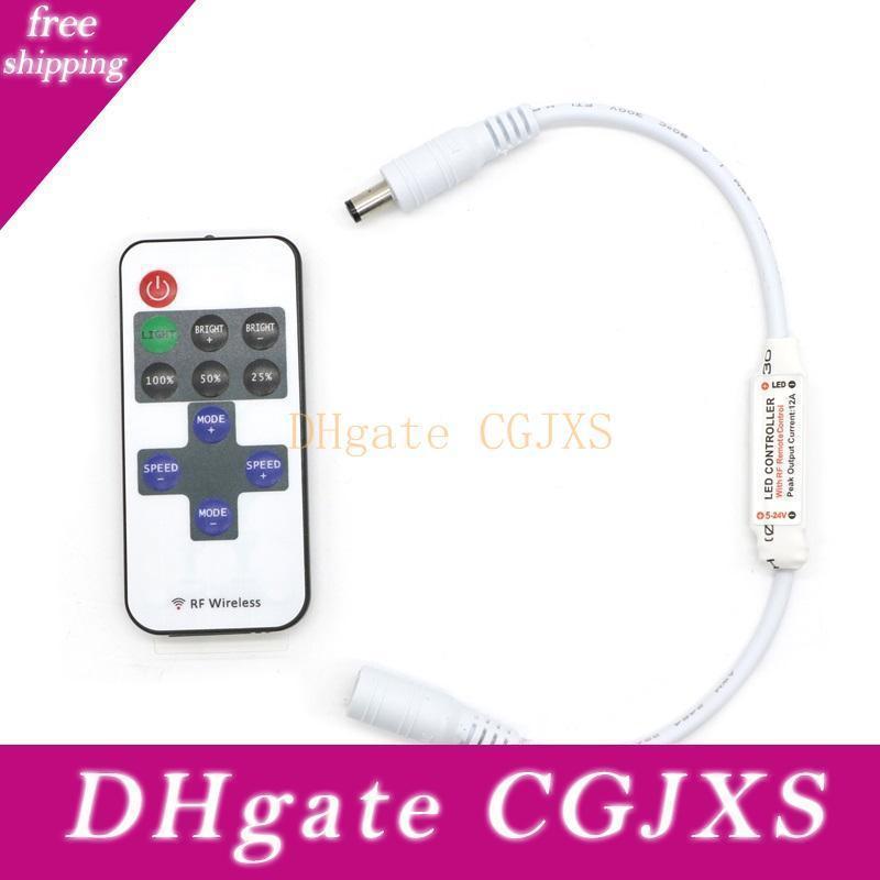 Edison2011 Dc 5 -24V mini atenuador de RF inalámbrico remoto controlador 11 teclas Dimmer para 5050 5630 3528 3014 2835 solo color luz de tira llevada