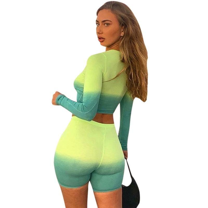 Set Yoga donne Gradient yoga di forma fisica di ginnastica Tuta da jogging Sportswear Running a maniche lunghe senza soluzione di continuità Shorts Sport Fitness Tuta