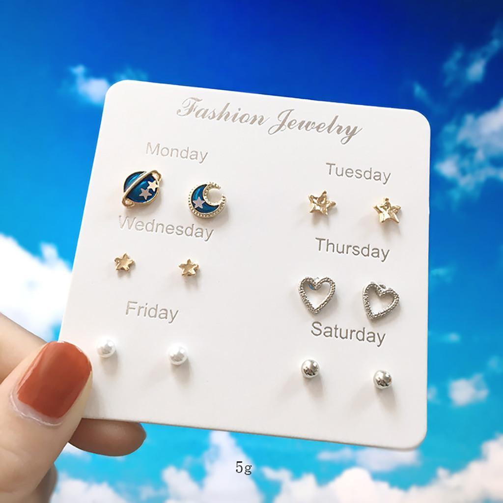Korean Japanese Style Heart Flowers Infinite Symbol Stud Earrings Set New Rhinestone imitation Pearl Earrings Women Gift Set #A