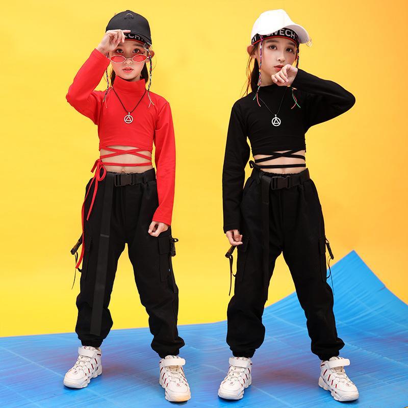 Bambini Hip Hop Abbigliamento alto collo Felpe Camicie crop top nero corsa pantaloni casual per jazz della ragazza del costume di ballo danza Abbigliamento X0923