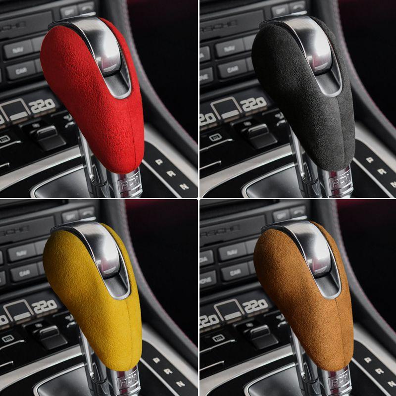 Alcantara gainé de cuir voiture POMMEAU Cover Auto ABS Stickers Autocollants pour Porsche Macan Panamera Boxter 719 911 Accessoires