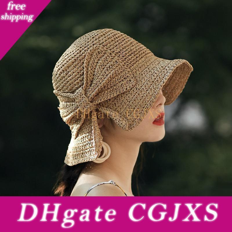 Novo Estilo Mulheres viseira Hat Moda Bow Straw Cap dobrável Chapéu Panamá Praia Hat frete grátis