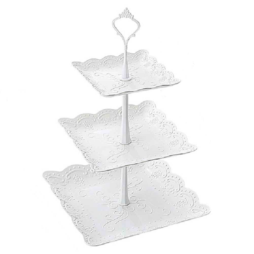 Послеобеденный чай Посуда Тарелка площадь торт Стенд 3 Уровня партия Фрукты Свадьбы