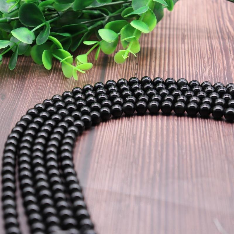 Keke naturales de cristal semiacabados de bricolaje Cuentas redondas de Obsidiana Obsidiana piedras sueltas accesorios hechos a mano DIY EqL0O
