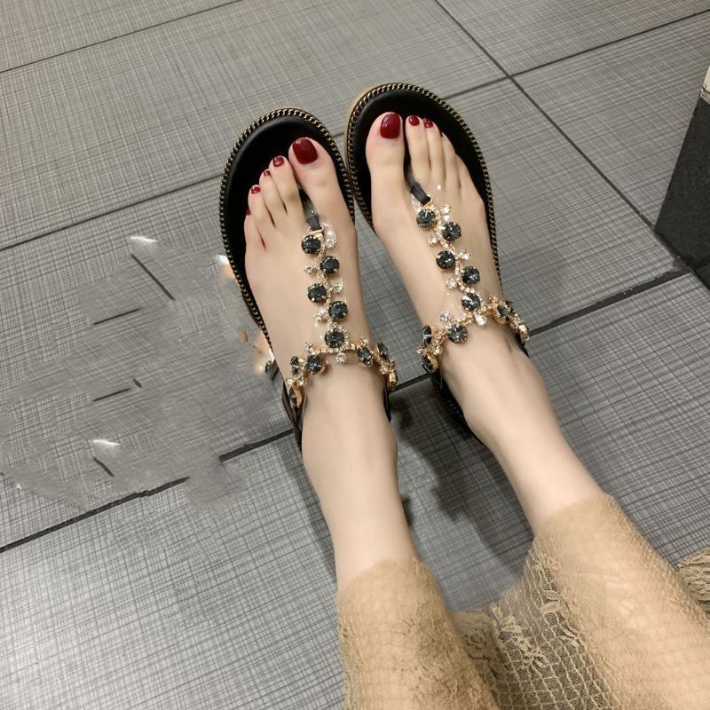 Zapatos diamantes de imitación mujeres de las sandalias sandalias de la manera del verano de las mujeres de Roma Gladiador planos ocasionales Zapatos de la playa Zapatos Mujer