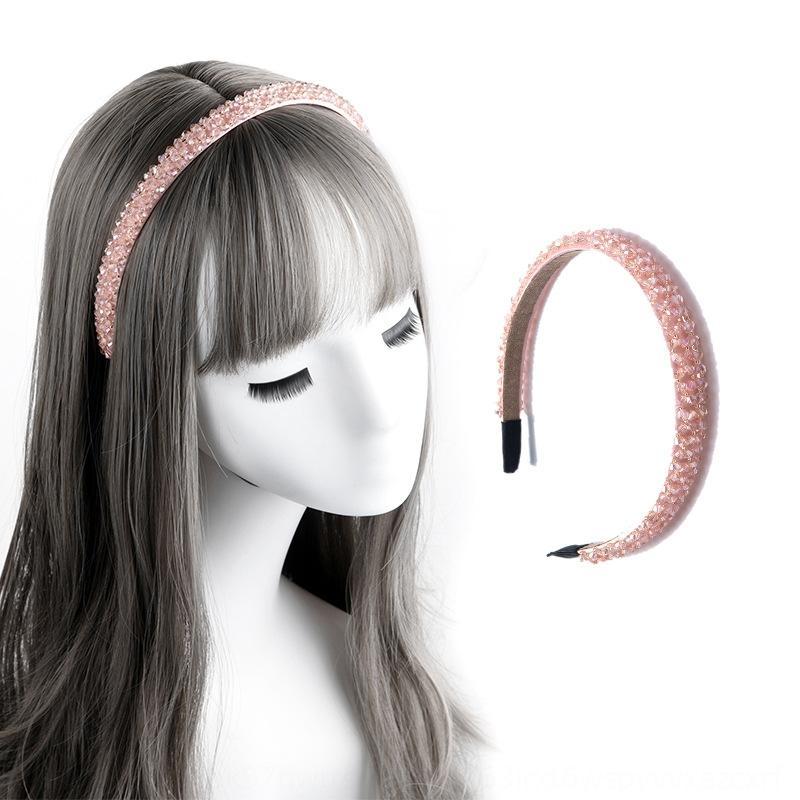 jewelryhigh gama DEbyH coreana cuatro filas brillante cristal moldeado granos cristalinos rebordeados manera de la venda accesorios para el pelo hechos a mano dulces