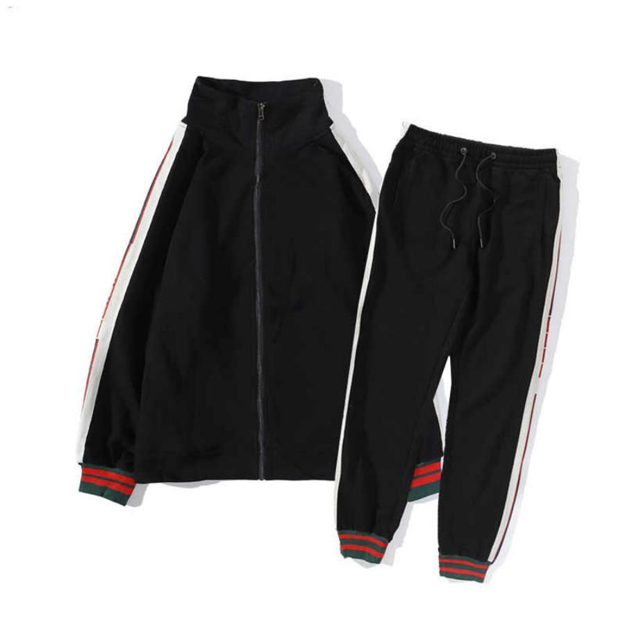 Mens Treino Jacket Zippers manga comprida Letters lado dois conjuntos de peças Ternos Moda Outfit mangas compridas Fatos Men 2 Cor tamanho M-2XL