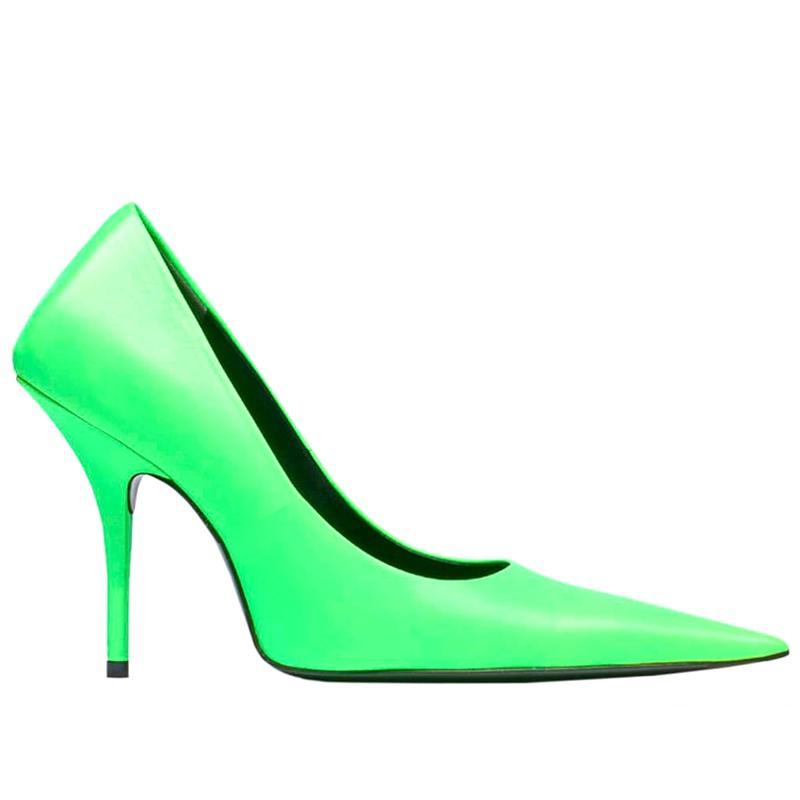 جديد نيون أشار تو مضخات النساء الانزلاق على سوبر عالية الكعب الصنادل النساء السيدات الأزياء المدرج أحذية zapatos دي موهير 2020