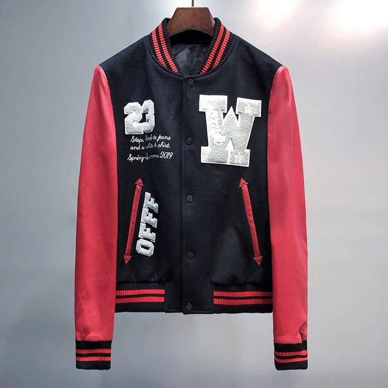 Rua maré OW Embroide Falcon beisebol bordado contraste jaqueta de manga de couro preto e vermelho clássico q4gKs jaqueta cor de beisebol
