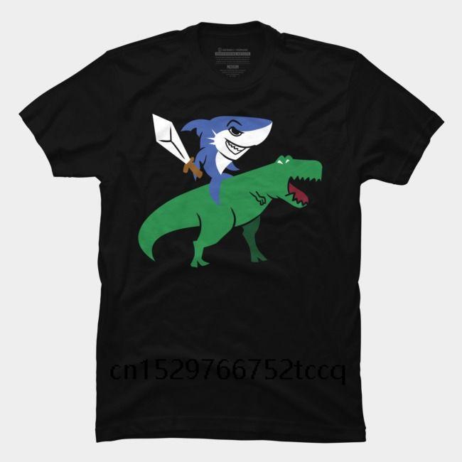 mans Köpekbalığı Binme T Rex Tişörtlü Köpekbalığı ile Kılıç Dinozor Tee kişilik Tişörtlü için