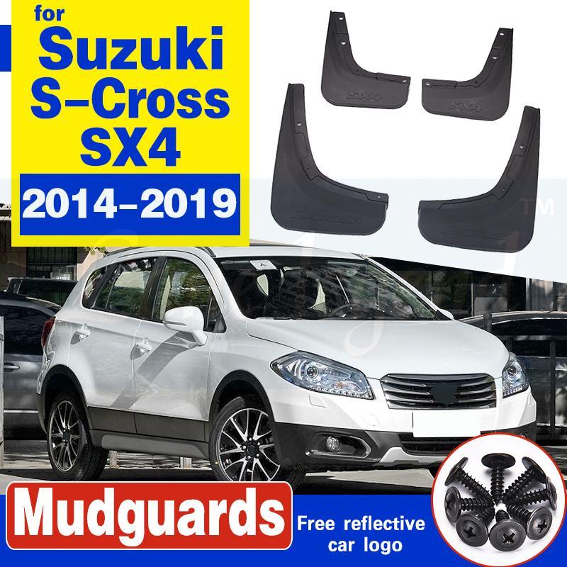 Garde-boue de voiture 4pcs pour Suzuki S-Cross SX4 2014 ~ 2019 FLAPFLAP Fender Fender Boue Bougies Garde Splash FLAP Accessoires 2015 2016 2017 2018