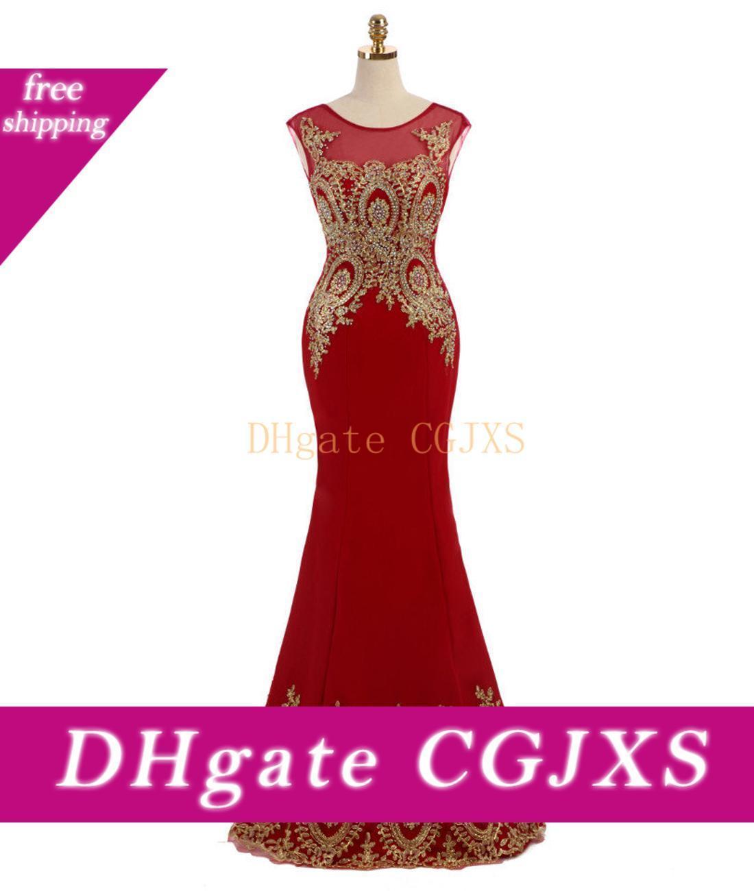 2.020 Tamaño sin mangas de la joya Apliques lentejuelas rojas formal vestidos de noche del cordón del oro de la sirena tribunal tren Plus Prom Vestido de noche