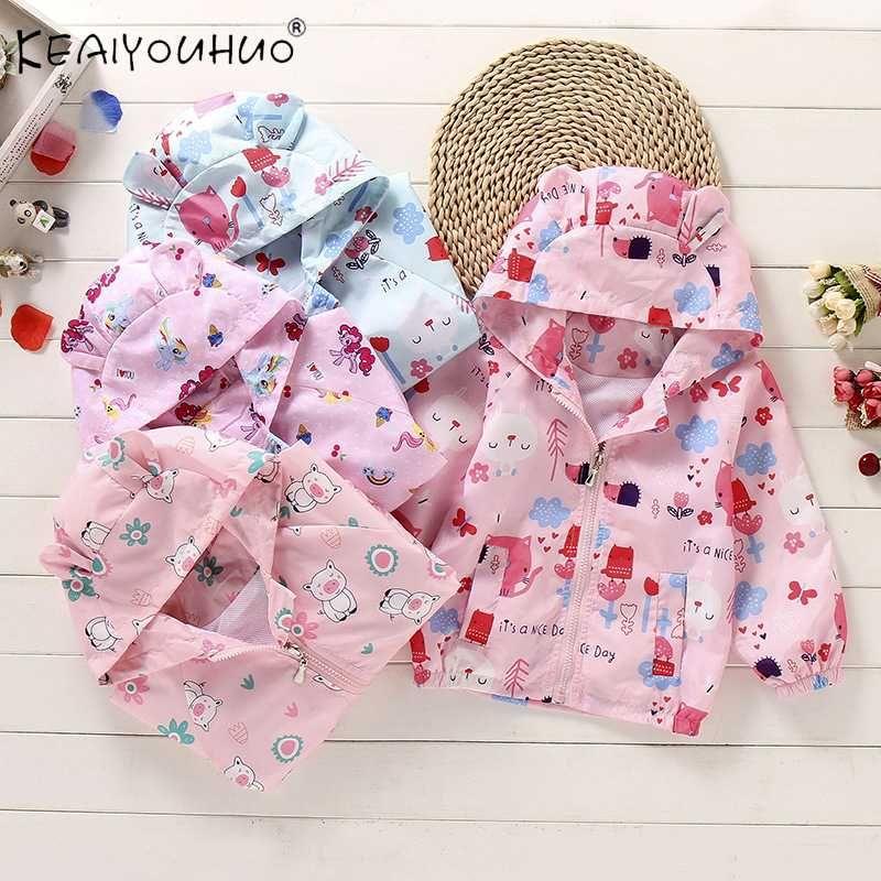 Wasserdichte Regenjacke für Mädchen Frühlings-Herbst-beiläufige Windjacke Kinder Oberbekleidung mit Kapuze Reißverschluss-Baby-Mantel-Blau Rosa 2-8