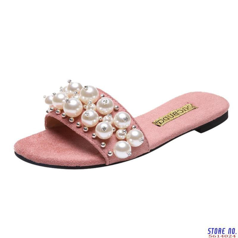 Sagace Frauen-Art und Weise beiläufige Pantoffel mit Perle gesetzt Außen flacher Boden Perle Strand Pantoffel Sommer neuen 2020 listing