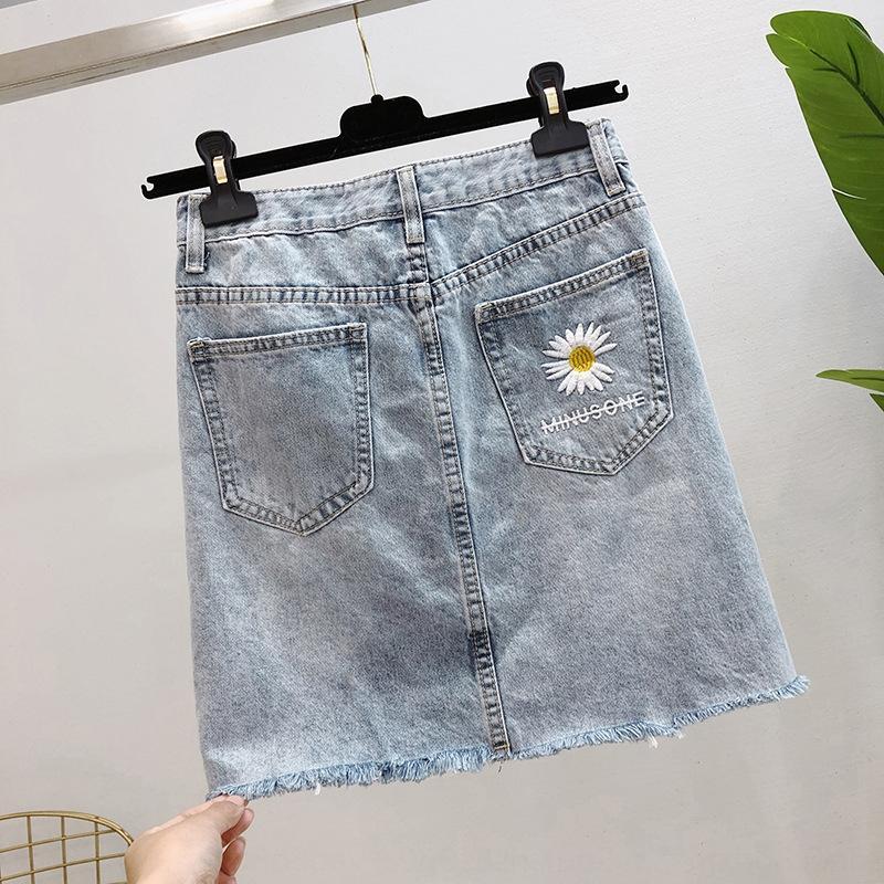 mCgWF coreano denim para as mulheres 2020 Verão bordados nova cintura alta estilo coreano emagrecimento A- saia de linha de bordado bordado saia de linha A-
