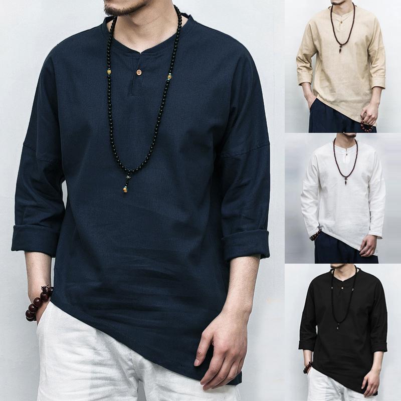 Camicie INCERUN Nuovo 2020 Plus Size Maglietta a maniche lunghe irregolare di stile cinese camicia Solid Men Cotone Lino Vintage Chemise casual