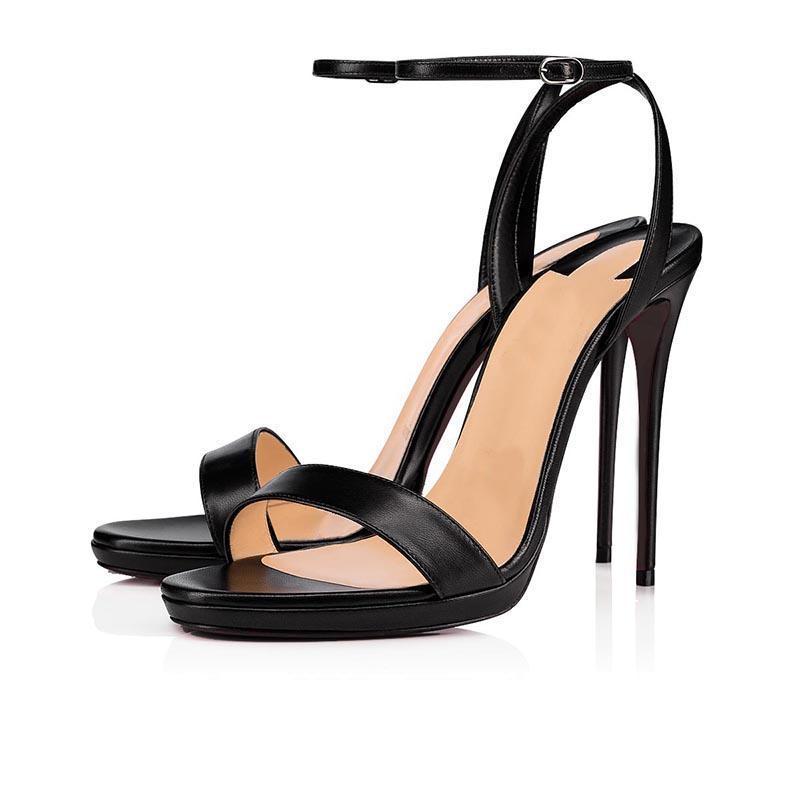 Красные Дно женщина на высоких каблуках платформы пятки сандалии с открытым мыском Slingback каблуки Сандал партия свадьба мода лето обувь