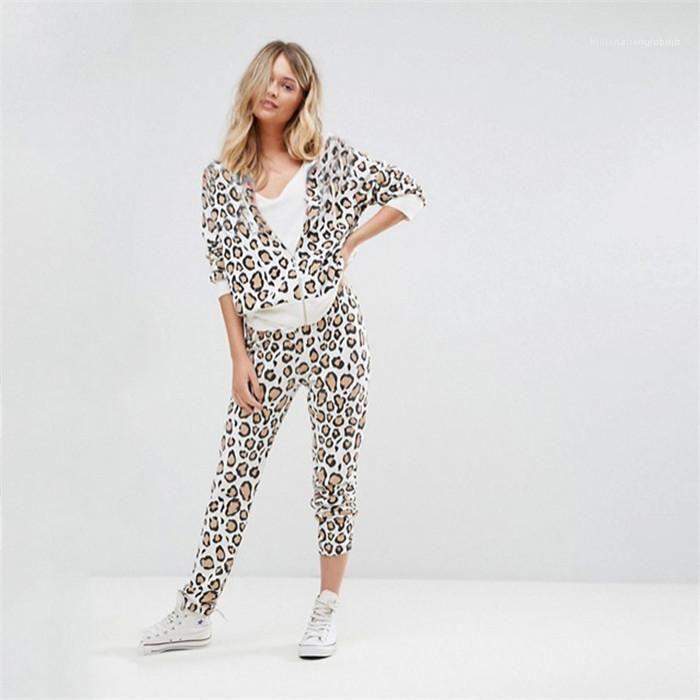 Lockere Hose Famale Frühling Herbst Anzug Frauen Leopard Anzug beiläufige Reißverschluss Kapuze lange Hülsen-Mantel