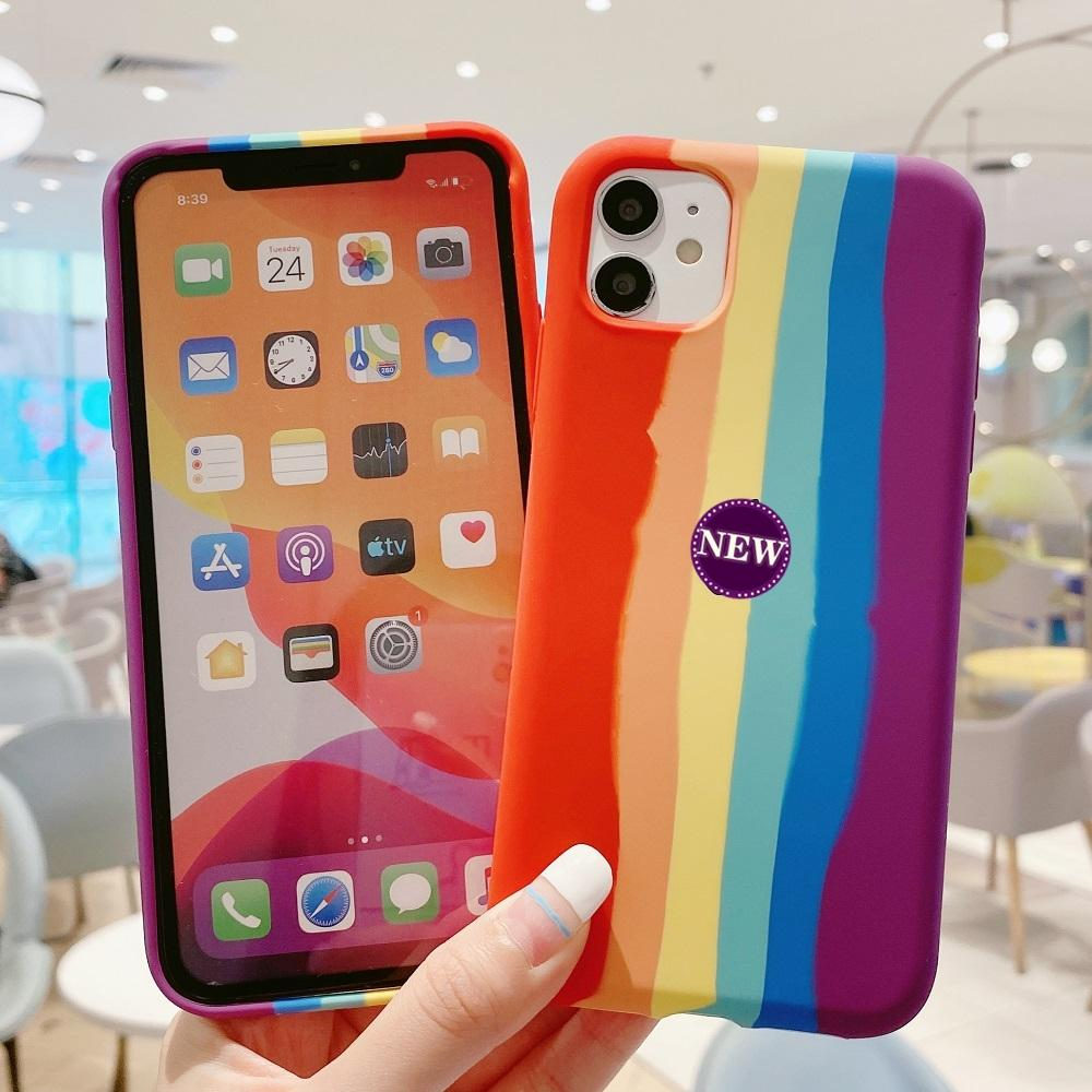 Pendiente del arco iris caja del teléfono para el iPhone 11 MAX Pro X XS MAX XR silicona líquida para el iPhone 7 8 6 6s Plus SE 2020