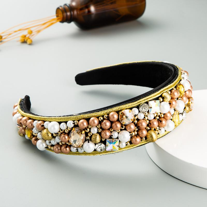 ZA Baroque Fashion Fabric Hairband Womens Luxury Colourful Diamond Full Diamond Handmade Pearl Headdress Edge Bordo Fascia