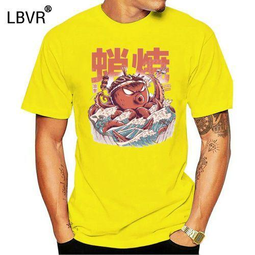 Monstruos takoyaki ataque de hombres de la camiseta de la vendimia gran onda del kaiju camiseta de Japón comida tees de manga corta