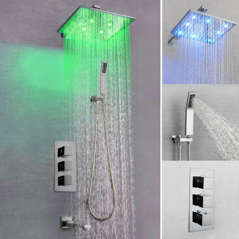 Duche acabamento cromado Oculto LED termostática Painel Torneiras Coluna chuvas chuveiro lidar com três de água Mixer Tap Bath Showers