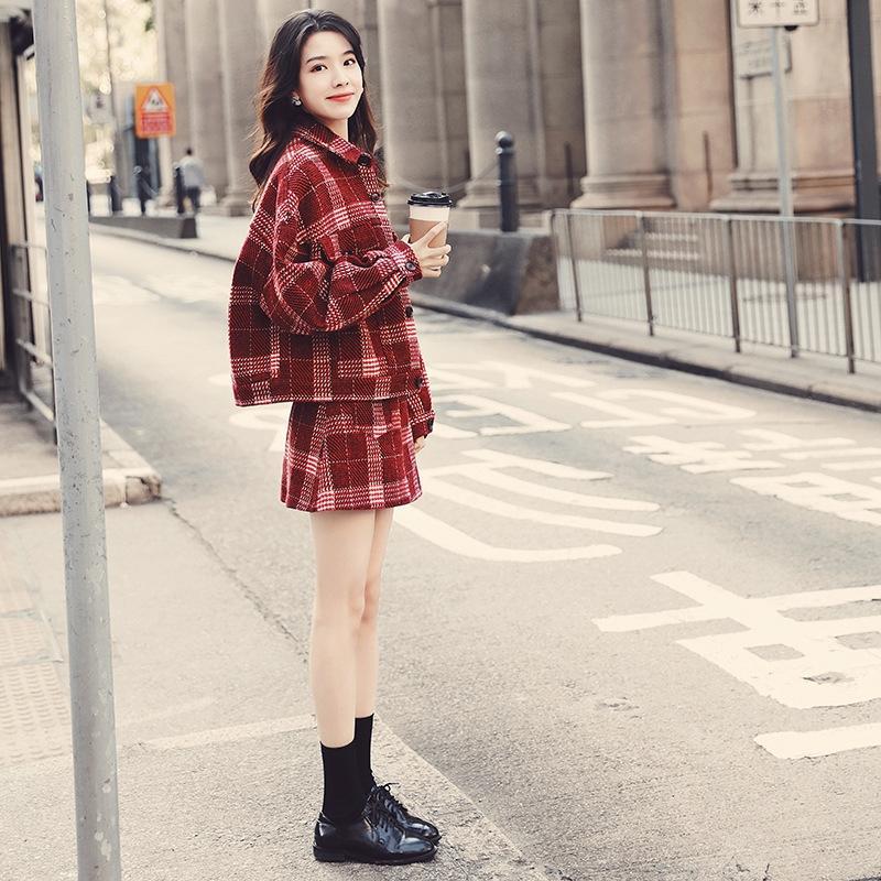 zG0eO Очень Fairy плед костюм женской моды западного стиля богини юбки пальто моды 2020 весной и осенью новый короткая юбка пальто двухкусочные s