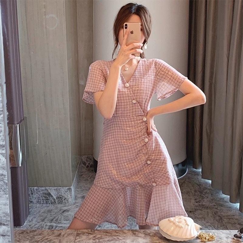 In stile francese ragazza migliorato piccolo vestito grandiflorum Platycodon 2020-stile occidentale con scollo a V cheongsam vita che dimagrisce il temperamento TcYO