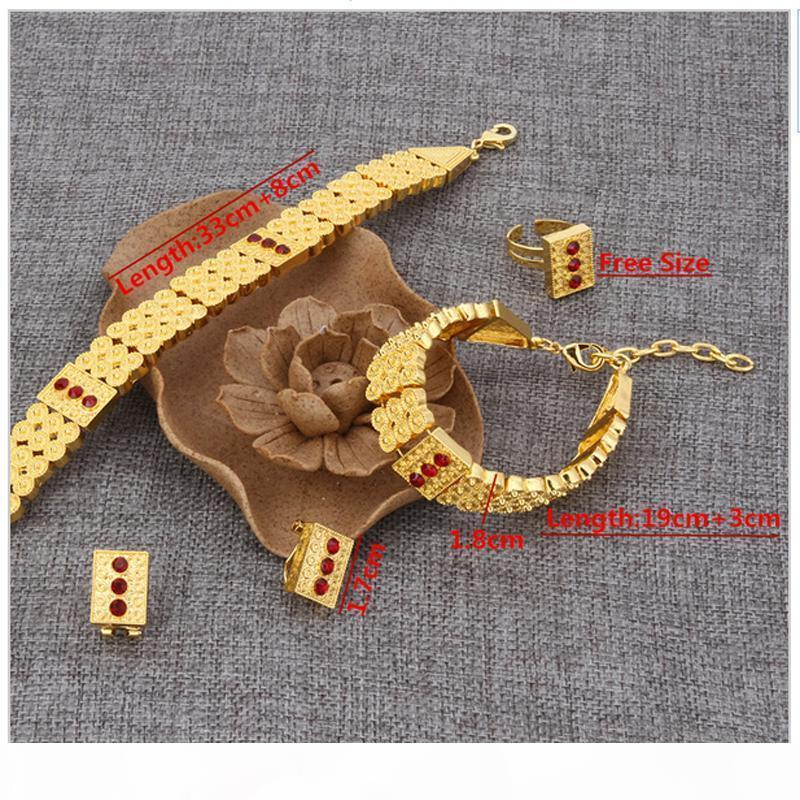 New Arrival Ethiopian Jewelry 24k Real gold GF Neck Chokers Necklace Bracelet Earring Ring Sets Eritrea Habesha Africa Women Heavy Thick