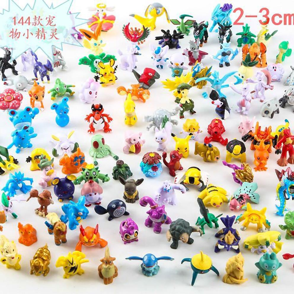 2-3cm Charizard Gengar Dragonite Rayquaza Vulpix Action Figures PVC Toy Best Halloween Gifts 144pcs/lot