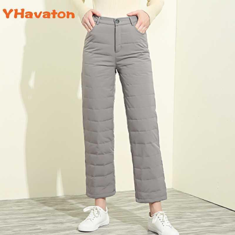 YHavaton Inverno branco elegante Duck calças para baixo Mulheres Vintage cintura alta Thicken Quente Calças fêmeas calças Plus Size Hetero