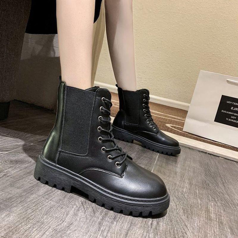 Cuero grueso Mujer botas de invierno de la manera europea Estilo Negro botas de las mujeres soled antideslizante impermeable resistente al desgaste
