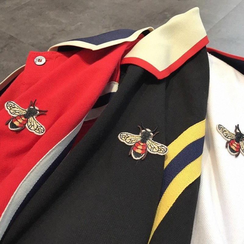 Camisa para hombre de lujo abejas decorado de manga corta camisa de marca para Hombre 2018 Diseñador de rayas Tees Ac1X #
