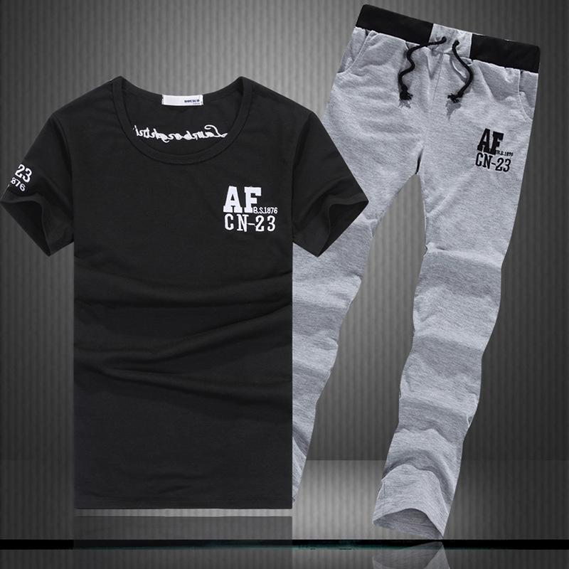 blmSg Sommersport der Männer koreanisches T-Shirt Art dünner Satz Paar Anzug T-Shirt Rundhals Kurzarm-lässige Pullover fit