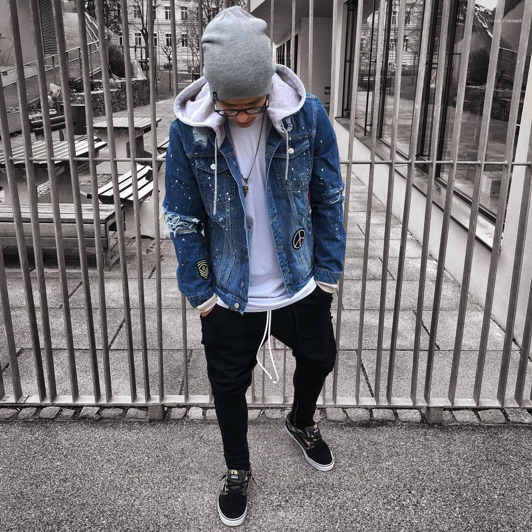 Giacca Cappotti nuovo modo del Mens Nuovo Denim Giacche molla Fori Ripped Hiphop Via casual