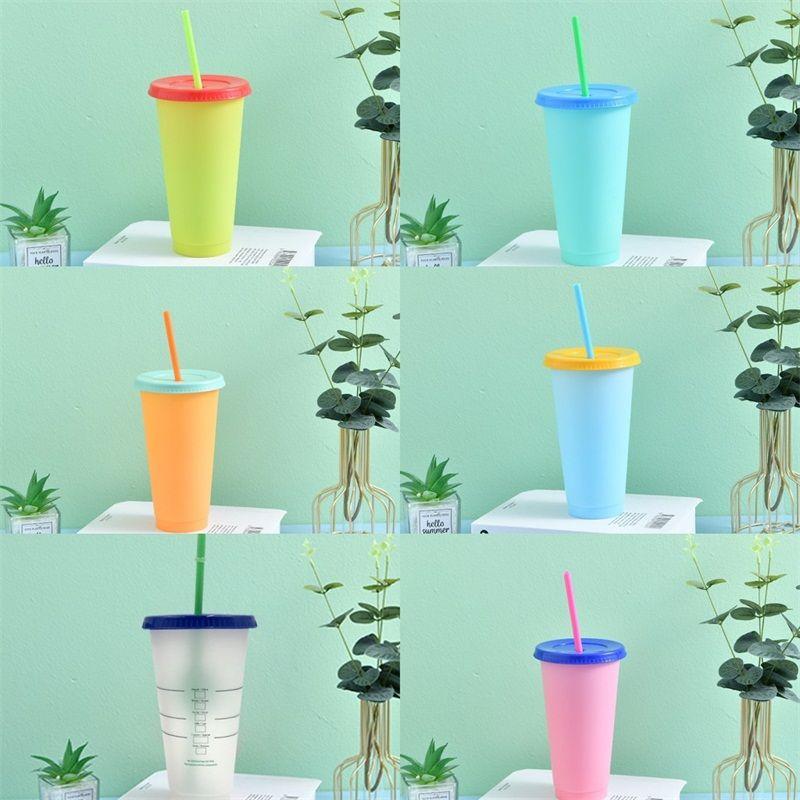 Sólido Cor Mudar Cups Limpar Círculo reutilizável Pp Temperatura Sensing plástico Tumbler com tampa caneca de sucção tubulares Sports 5HB B2