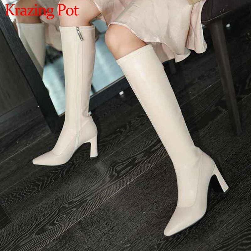 krazing Topf elegante edle quadratische kleine Rindsleder Prinzessin Stil Zehe hohe Absätze arbeiten solide Reißverschluss-Winter-Schenkel hohe Stiefel L06