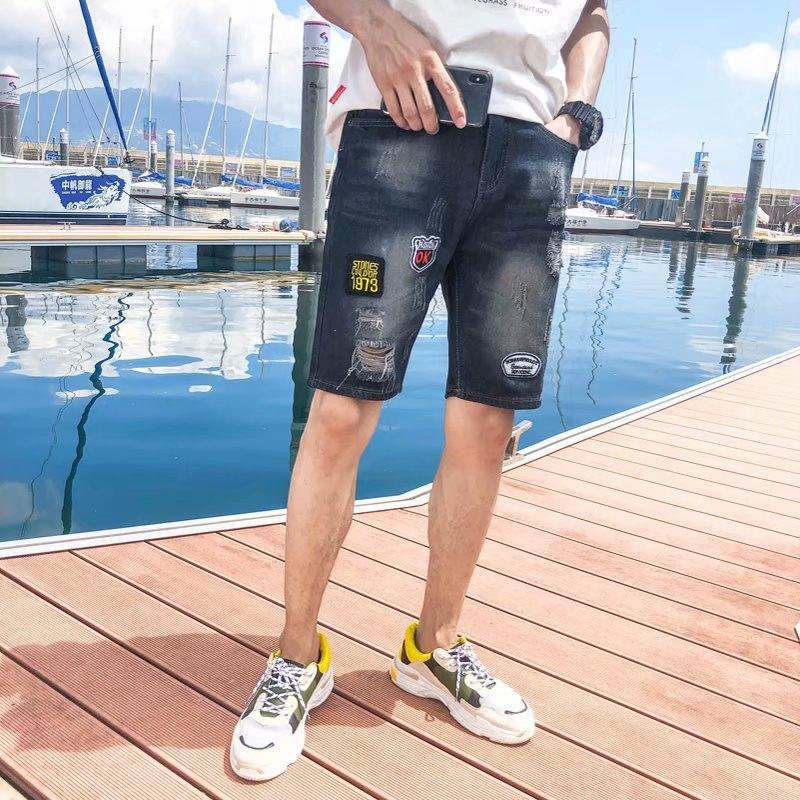 Dilenci yırtık erkek küçük Ayak bileği uzunlukta pantolon kot ve kot ayak gençliğin şort Karikatür yaratıcı kırpılmış pantolon süper ince erkekler orta wh7d