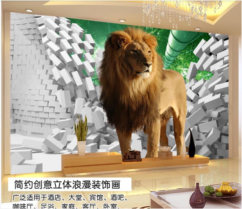 WDBH 3d фото обои на заказ настенная Лев сломанной кирпичной стене ТВ фон картины домашнего декора обои, обои для стен комната 3 д
