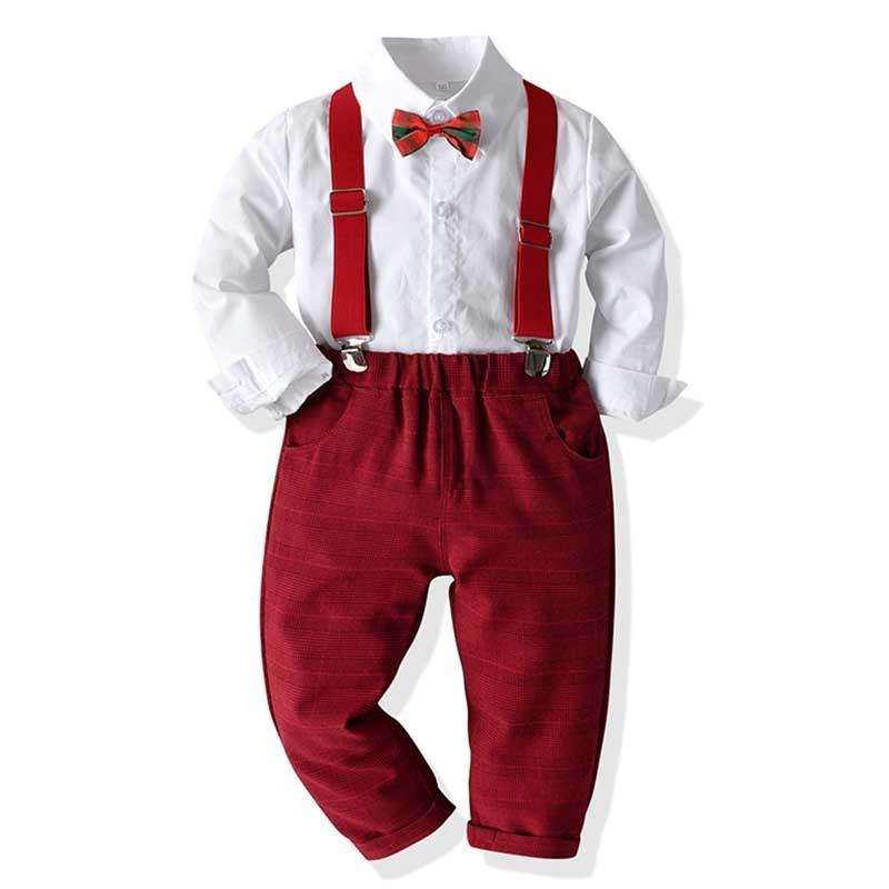 Papyon + Kırmızı Pantolon Parti düğün Yakışıklı Çocuk Giyim için Boys Giyim T200819 ile Boy Giyim Seti Elbise Takım Elbise Gentleman Beyaz Gömlek