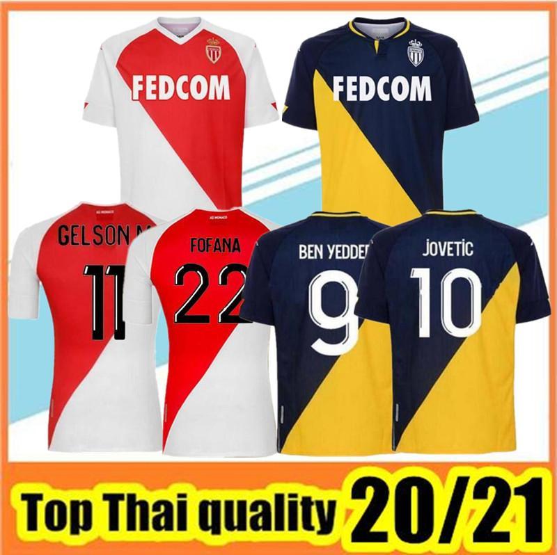 2020 2021 Высочайшее качество как Монако Бен Yedder Футбольные трикотажки Jovetic Golovin 20 21 Maillot de Foot Flocage Хорхе мужчины Детская футболка