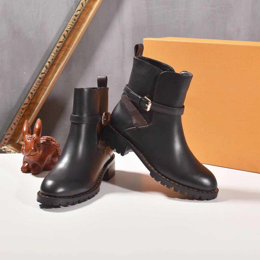 Las últimas mujeres de moda las botas de Martin de arranque 100% cuero real grueso tacón bajo las botas del diseñador del invierno tamaño de los zapatos 35-41