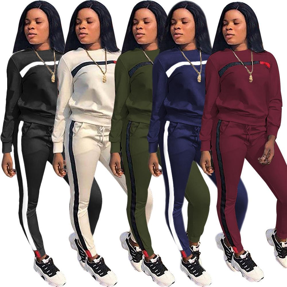 Negro azul moda casual costura esportes terno mulheres tracksuit hoodies top + lápis calças 2 peças mulher conjunto de roupas tamanho s-3xl atacado