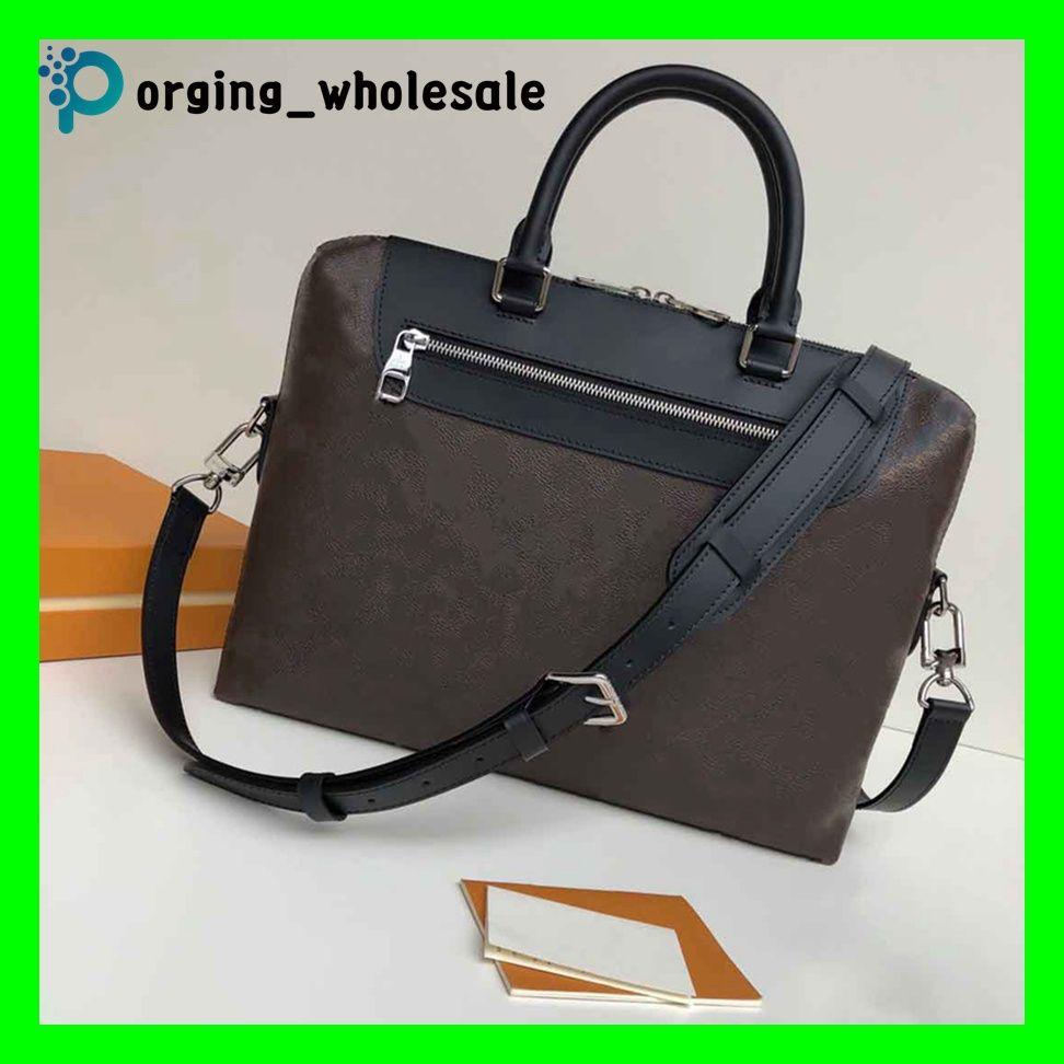 LV Briefcase M40868 laptop Bolso de cuero portátil de la cartera del hombro clásico de la vendimia Bolso del ordenador portátil cartera de los hombres de bolsos  bolsa de mensajero