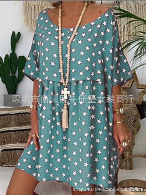 Sommer neuer Rundhals gedruckt für Frauen-Sommer-neuen Rundhals Star Star Kleid gedrucktes Kleid für Frauen e4IR0