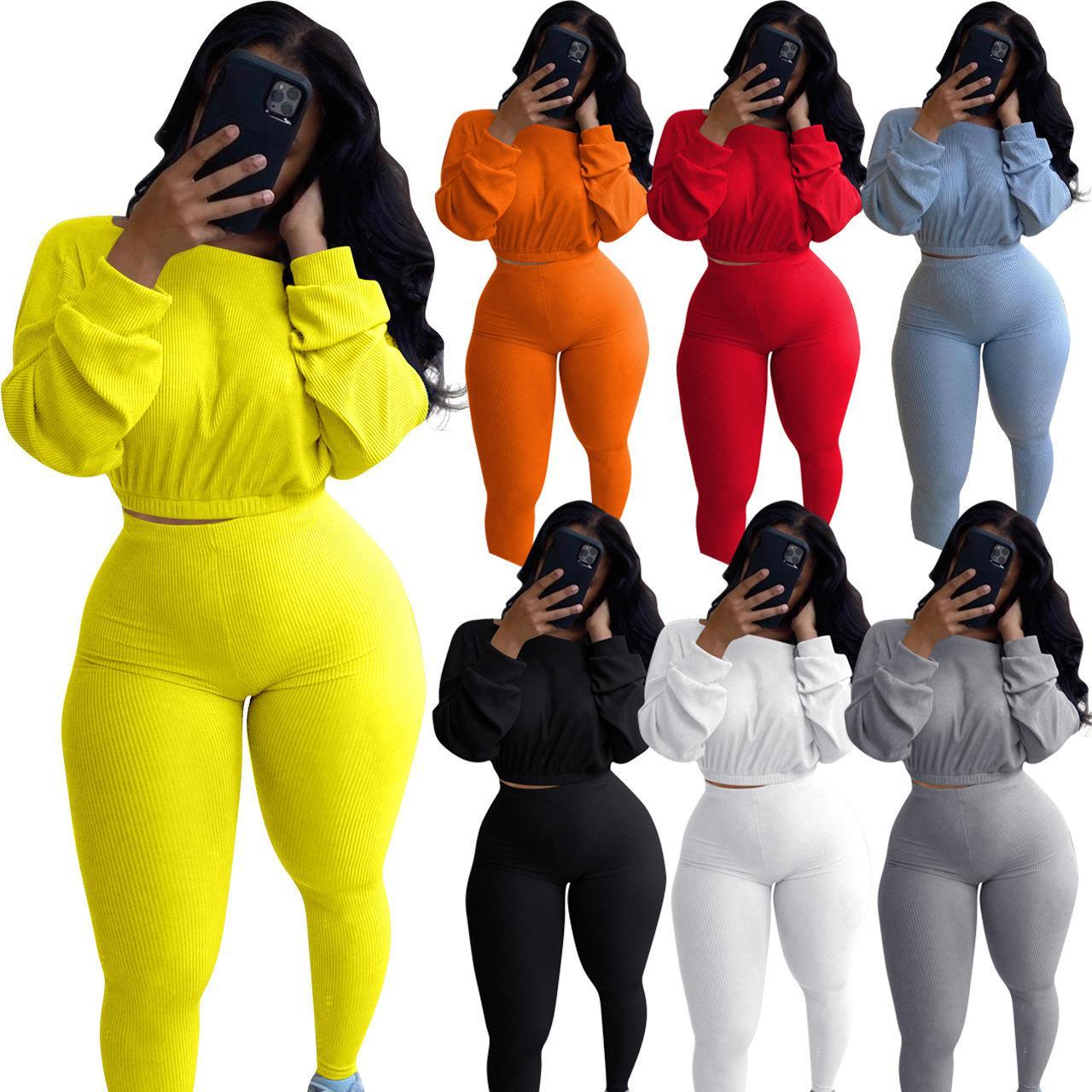 Mujeres 2 chándales pieza sólida de color Traje Manga Larga Rib Deportes suéter ropa deportiva Trajes de otoño más el tamaño de deportes Ropa 2020