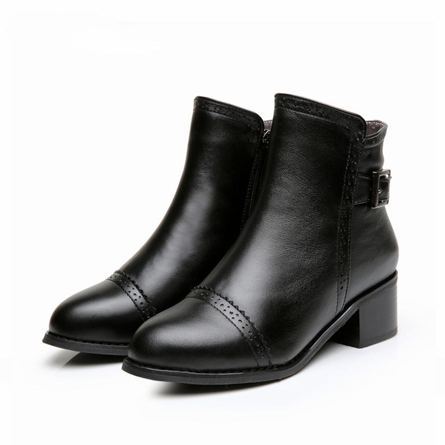 Mulheres ankle boots verdadeira vaca couro preto com zíper 5cm salto grosso confortáveis macios artesanais femininos botas curtas sapatos 2020