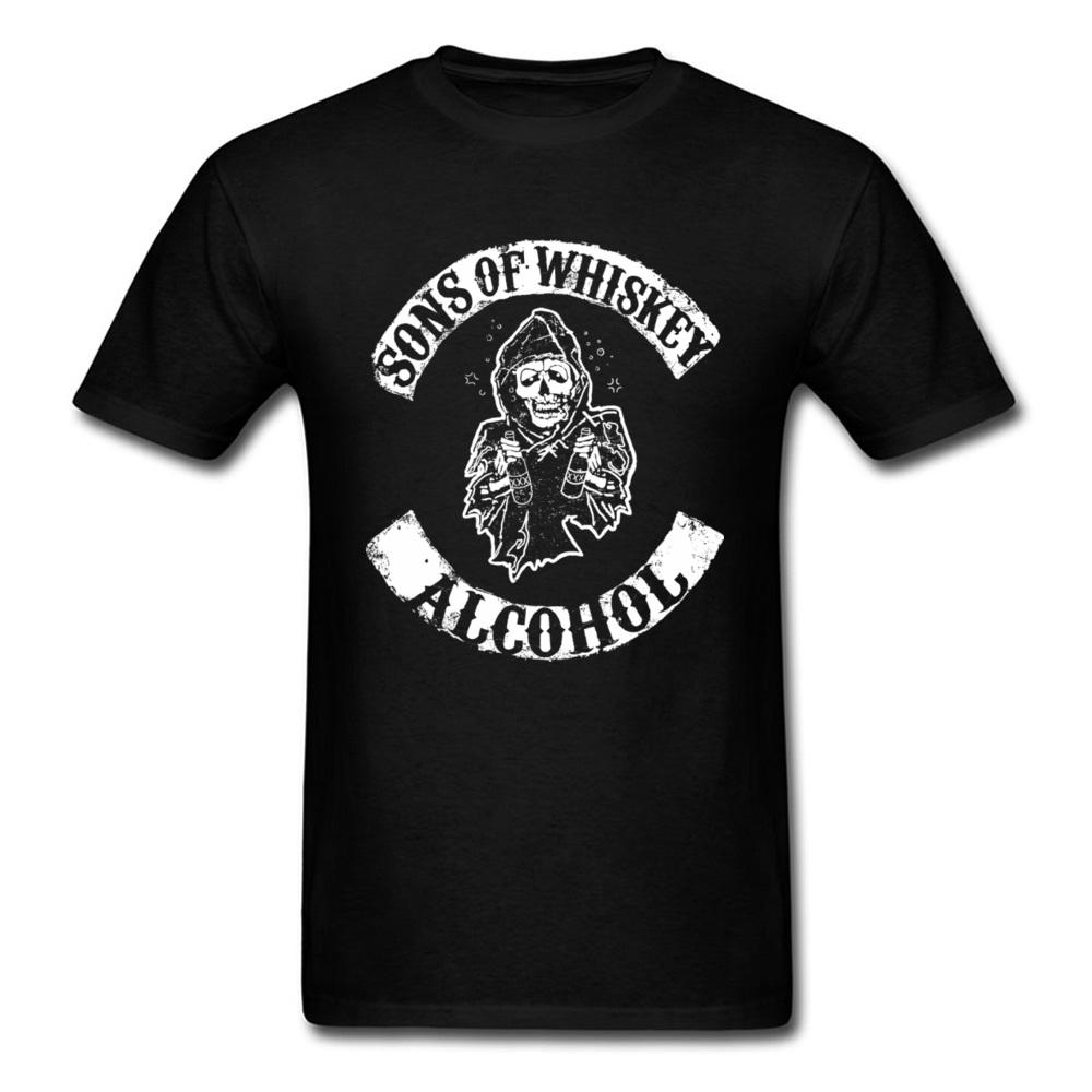 Popular Sons of Whiskey Camiseta Ceifador Morte Destino Verão Camisa O-Neck Cotton T para Redneck Homens clássico Camiseta